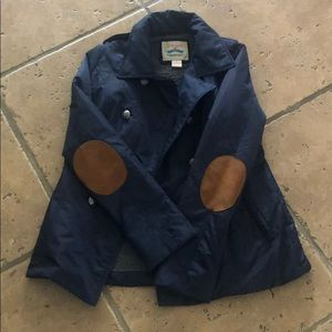 Flying Tomato navy coat with elbow patches